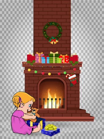 Cute little kawaii baby girl character open gift sitting near decorated christmas fire place with many presents isolated on transparent background. Vector clip art, element for greeting card design