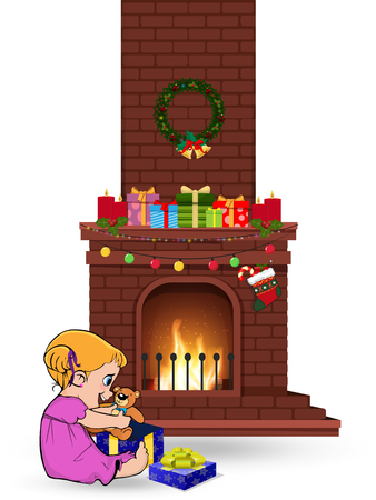 Cute little kawaii baby girl character open gift sitting near decorated christmas fire place with many presents isolated on white background. Vector clip art, element for greeting card design