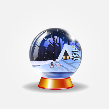 Christmas, new year crystal snow globe of winter snowy night landscape with little house and cute snowmen isolated on white background. Vector illustration, icon, clip art  design element.