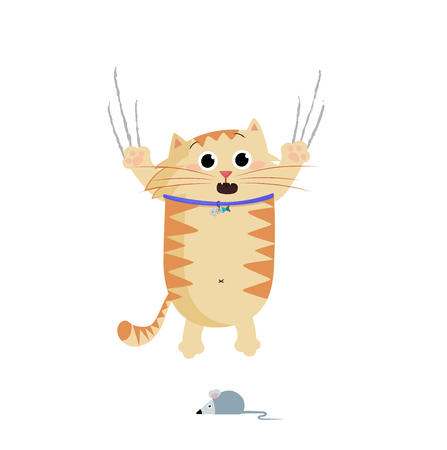 Vector illustration of cute cartoon ginger cat character frightened and escaping of mouse bangles being scary. Crying pet clip art isolated on white background. Naughty cat's life routine situation.