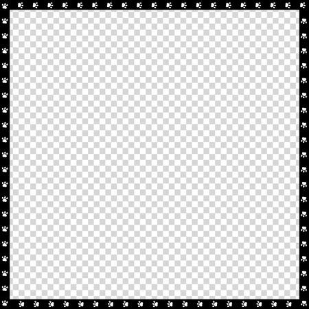 Bordo quadrato bianco e nero di vettore fatto di impronte di animali isolati su sfondo trasparente. Copia modello di spazio, bordo, struttura, cornice per foto, poster, banner, zampe di cani o gatti che camminano.