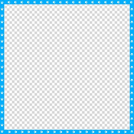 Bordure carrée bleue et blanche de vecteur cyan faite d'empreintes de pattes d'animaux sur fond transparent. Copiez le modèle d'espace, la bordure, le cadre, le cadre photo, l'affiche, la bannière, la piste de marche des pattes de chats ou de chiens.