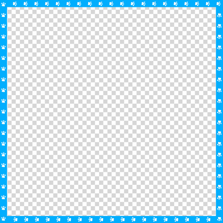 Vector cyan blue and white square border made of animal paw prints on transparent background. Copy space template, border, framework, photo frame, poster, banner, cats or dogs paws walking track.