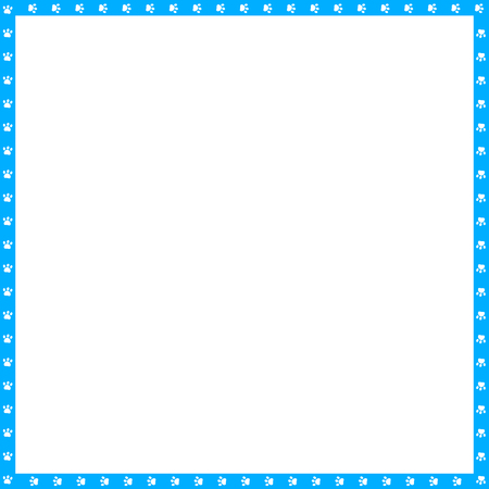Vector cyan blue and white square border made of animal paw prints isolated on white background. Copy space template, border, framework, photo frame, poster, banner, cats or dogs paws walking track.