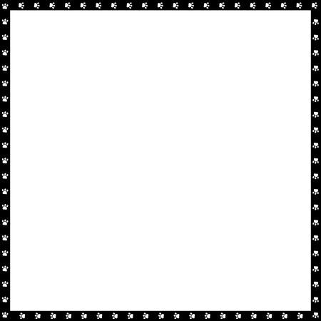 Bordo quadrato bianco e nero di vettore fatto di impronte di animali isolati su sfondo bianco. Copia modello di spazio, bordo, struttura, cornice per foto, poster, banner, zampe di cani o gatti che camminano.