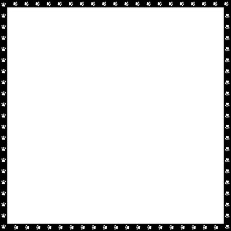 Vector black and white square border made of animal paw prints isolated on white background. Copy space template, border, framework, photo frame, poster, banner, cats or dogs paws walking track.