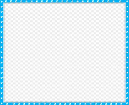 Borde de rectángulo azul y blanco cian de vector hecho de huellas de animales sobre fondo transparente. Copie la plantilla de espacio, borde, marco, marco de fotos, póster, pancarta, huellas de patas de perros o gatos. Ilustración de vector