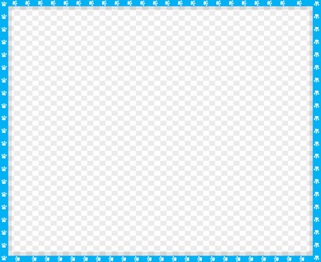 Vector cyan blue and white rectangle border made of animal paw prints on transparent background. Copy space template, border, framework, photo frame, poster, banner, cats or dogs paws walking track. Ilustração Vetorial