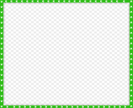 Vector green and white rectangle border made of animal paw prints on transparent background. Copy space template, border, framework, photo frame, poster, banner, cats or dogs paws walking track.