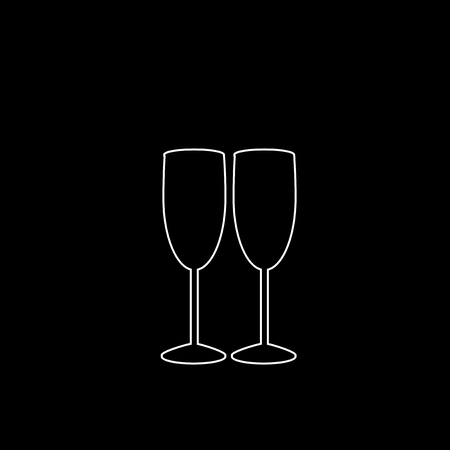 White outline silhouette of couple champagne or wine glasses on black background. Cheers icon. Fragile or packaging glass symbol, sign, clipart. Monochrome vector illustration of two champaign glasses Illustration