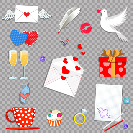 Happy valentine day cartoon icons set isolated on transparent background. Love Holiday. Valentine or wedding collection elements for greeting card, scrapbooking design. Vector Illustration, clip art.