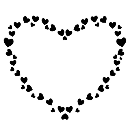 Vector cute black hearts photo frame for valentines, love romance design. Template for greeting card, invitation, scrapbook element. Heart shaped border, sign, symbol, vintage scrapbook element, mat.
