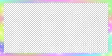 Cadre rectangle magique holographique avec des étincelles de fées, des étoiles et des flous. Bordure magique avec maille arc-en-ciel et espace pour le texte. Bannière d'univers mignon aux couleurs de la princesse Licorne. Panneau d'affichage dégradé fantaisie Vecteurs