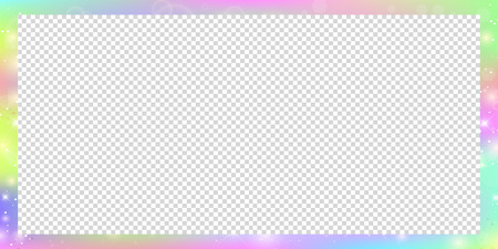 Holographic magic rectangle frame with fairy sparkles, stars and blurs. Magical border with rainbow mesh and space for text. Cute universe banner in princess unicorn colors. Fantasy gradient billboard