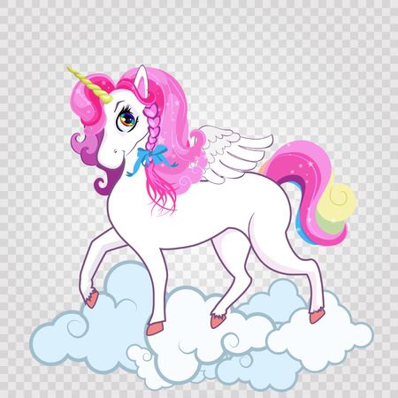 Cute white unicorn on clouds isolated on transparent background. T-shirt graphic for kids clothing, print, surface design, fashion baby wear. Vector illustration, clip art, poster, card, sticker, icon.
