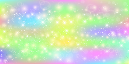 Vector rectangle galaxy fantasy background in vibrant baby colors. Magic unicorn banner billboard with rainbow mesh. Cute universe template in princess colors. Fantasy gradient backdrop with hologram. Vettoriali