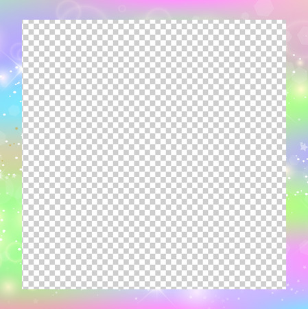 Holographic magical square frame with fairy sparkles, stars and blurs. Magic border with rainbow mesh, space for text. Cute universe template in unicorn colors. Fantasy gradient backdrop with hologram Illustration