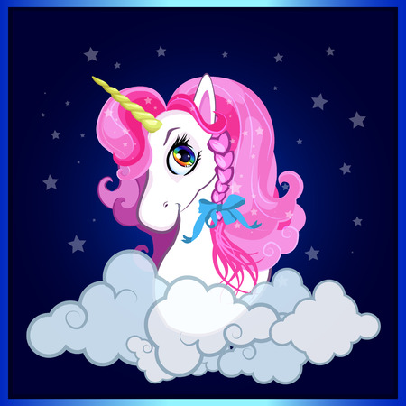 Cartoon white pony unicorn head with pink hair and braid bow portrait on night sky with clouds background. Vector illustration for t-shirt graphic, kids clothing, print, book cover, postcard design