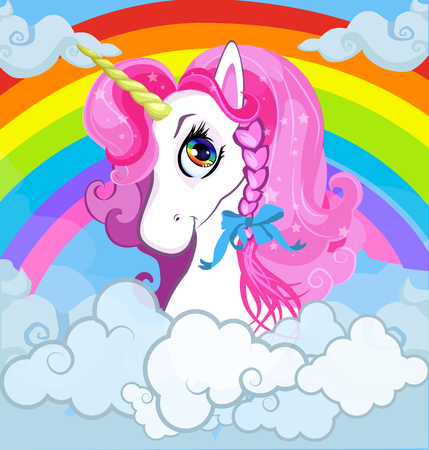Cartoon white pony unicorn head with pink mane portrait on bright rainbow with clouds sky background. Vector illustration for t-shirt graphic, kids clothing, print, baby book cover, postcard design