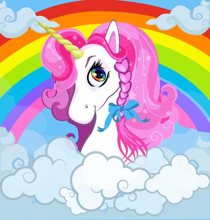 Tête de licorne de poney blanc de dessin animé avec portrait de crinière rose sur arc-en-ciel lumineux avec fond de ciel de nuages. Illustration vectorielle pour graphique de t-shirt, vêtements pour enfants, impression, couverture de livre pour bébé, conception de carte postale