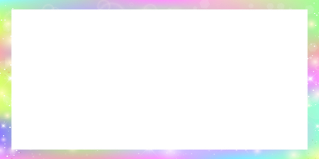 Magic rectangle frame with fairy sparkles, stars and blurs. Magical border with rainbow mesh and copy space. Cute universe banner in princess unicorn colors. Fantasy gradient signboard template.