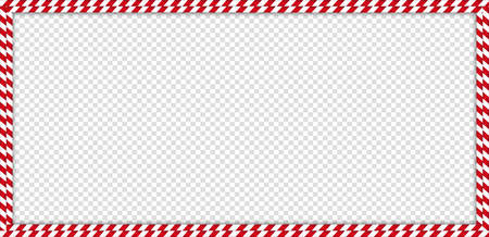 Christmas, new year rectangle double candy cane frame with striped lollipop pattern isolated on transparent background. Xmas border. Vector banner, signboard, billboard, greeting postcard, template. Illustration