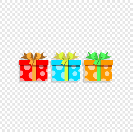 Vector illustration of cute cartoon set of colorful gift boxes wrapped with festive bow isolated on transparent. Presents, icons, anniversary birthday, postcard, greeting card stickers, clip art