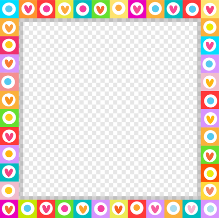Cute vector square love border made of doodle hand drawn hearts in bright colors isolated. Template with copy space for valentines greeting card, dating invitation, scrapbooking element, photo frame