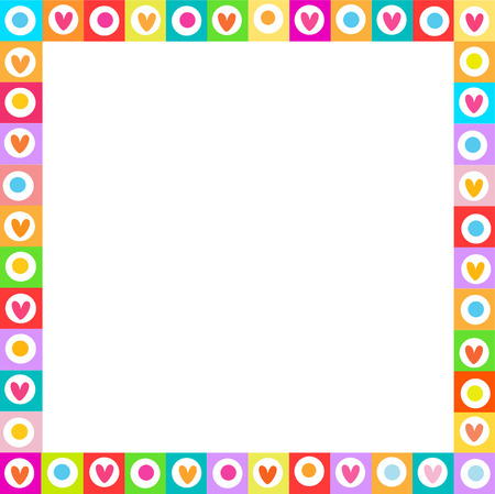 Cute vector vibrant square love frame made of doodle hand drawn hearts on white background. Template with copyspace for valentine greeting card, wedding invitation, scrapbook element, photo border. Illustration