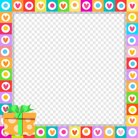 Vector cute vibrant border photo frame made of doodle hearts with bright orange gift box in corner. Multicolored template with copy space for Valentines, birthday invitation, flyer, greeting card