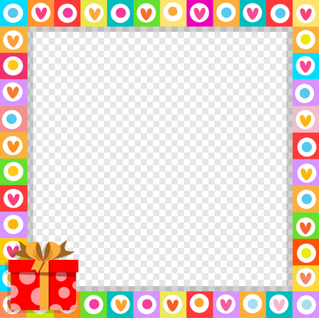 Vector cute vibrant border photo frame made of doodle hearts with bright red gift box in corner. Multicolored template with copy space for christmas, Valentine, birthday invitation, flyer, postcard