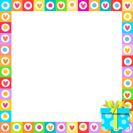 Vector cute vibrant border photo frame made of doodle hearts with bright blue gift box in corner. Multicolored template with copy space for christmas, Valentine, birthday invitation, flyer, postcard