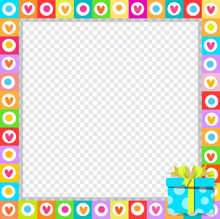 Vector cute vibrant border photo frame made of doodle hearts with blue gift box with ribbon in corner. Rainbow colored template with copyspace for Valentine, birthday invitation, flyer, greeting card