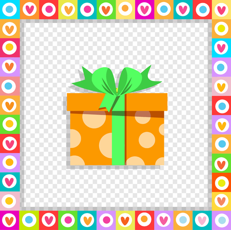 Vector illustration of cute cartoon orange gift box wrapped with festive ribbon framed with heart border isolated. Present icon, anniversary wedding, valentine greeting card sticker, clip art.