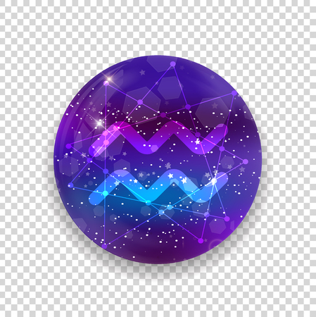 Aquarius Zodiac sign and constellation on a cosmic purple sky with glowing stars and nebula isolated on transparent background. Vector neon icon, web button, clip art, astrology, horoscope, astronomy