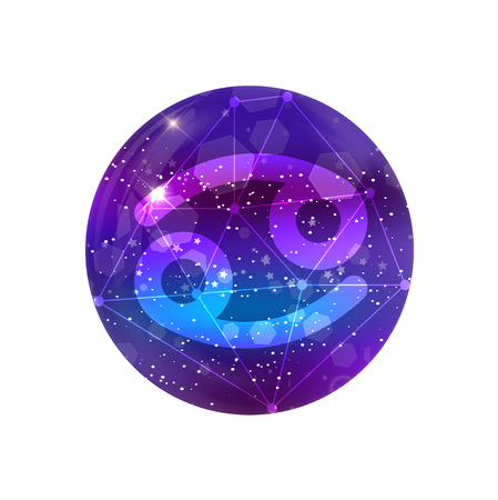 Cancer Zodiac sign and constellation on a cosmic purple sky with glowing stars and nebula isolated on white background. Vector neon icon, web button, clip art, astrology, horoscope, astronomy