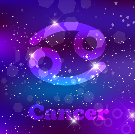 Cancer Zodiac sign and constellation on a cosmic purple background with glowing stars and nebula. Vector illustration, banner, poster, crab card. Space, astrology, horoscope, astronomy, fantasy design