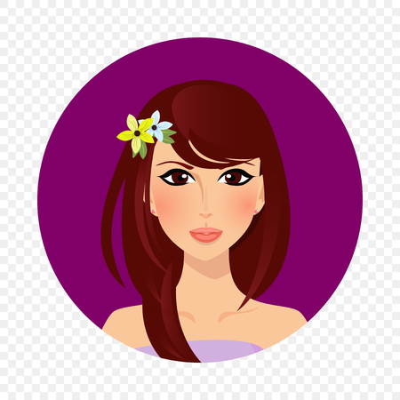 Adorable brunette girl with hazel eyes and long hair style and flowers on head. Upper body woman cartoon character portrait on white background. Vector illustration, icon, label, sticker, clip art