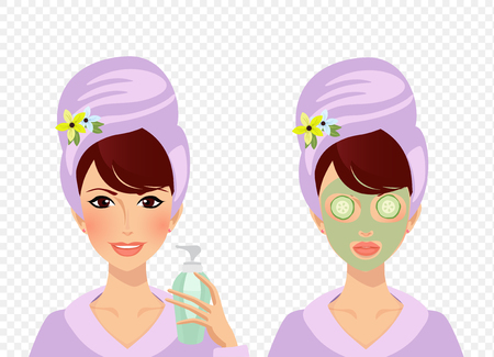 Vector set of girl character with towel turban on head and bathrobe before and after spa cosmetic skincare procedures. Woman puts cream on face and lady with clay mask and cucumber on eyes clip art Vettoriali