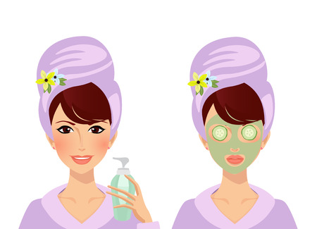 Vector set of cute girl character with towel turban on head and bathrobe before and after spa cosmetics skincare procedure. Woman puts cream on face, lady with clay mask and cucumbers on eyes clip art