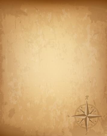Vecchia carta vintage con segno della bussola rosa dei venti. Illustrazione vettoriale altamente dettagliata. Modello con copia spazio vuoto per il testo. Mappa pirata, concetto. Revival invecchiato tesoro arrugginito, avventure, carta marina Vettoriali