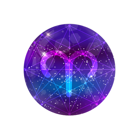 Aries Zodiac sign and constellation on a cosmic purple sky with glowing stars and nebula isolated on white background. neon ram icon, web button, clip art, astrology, horoscope, astronomy