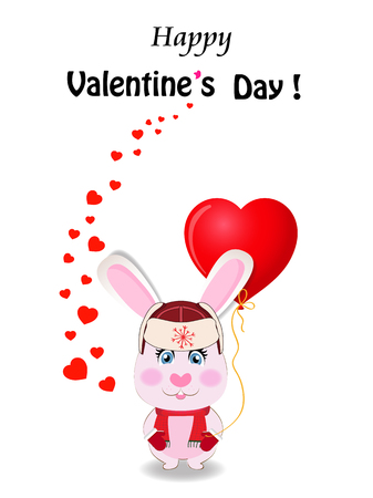 Valentines day greeting card. Cute cartoon rabbit in red hat with ear flaps, knit scarf and mittens holding red heart shaped balloon and many hearts around on white background.  , space for text.