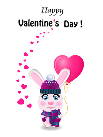 Valentines day greeting card with cute cartoon rabbit in violet knitted hat, scarf and mittens holding pink heart shaped balloon and many little hearts around on white background.   illustration 写真素材