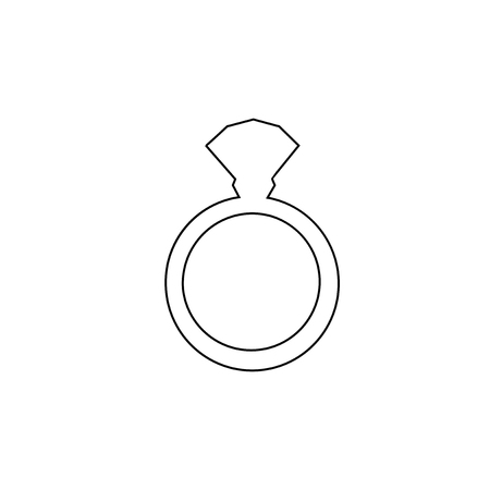 black outline silhouette of engagement ring with diamond isolated on white background. Wedding or marriage present icon, sign, symbol, clip art flat web mobile button, element for design.