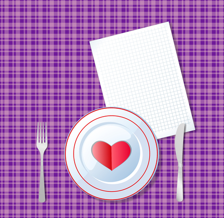 Red heart shape on a plate with knife, fork and white sheet for message on chequered violet tablecloth background. Romantic dinner template with space for text, love greeting card for valentines day. Imagens