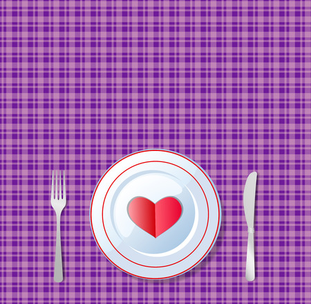 Romantic dinner. Red heart shape on a plate with knife and fork on chequered violet tablecloth background.   illustration, card, template with space for text.  Celebration of valentine's day.