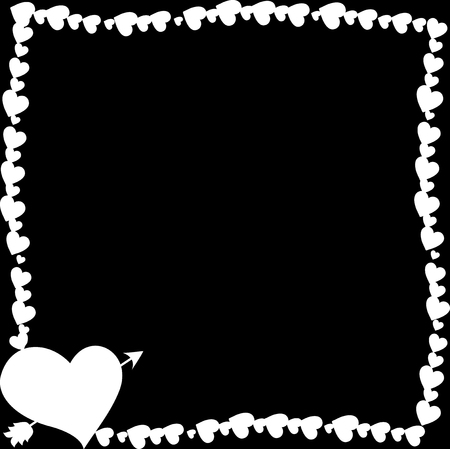 black and white retro vintage border photo frame made of hearts with arrow pierced heart silhouette in corner. Monochrome template with copy space for Valentines day, wedding invitation, flyer