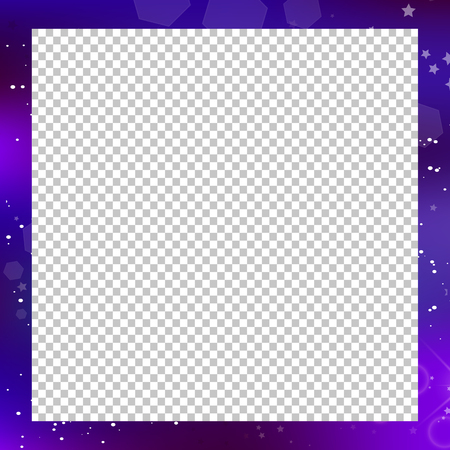 Vector fantastic galaxy square border on transparent background with copy space. Purple neon magic banner, night starry sky photo frame. Magical light effect. scrapbook, postcard, flyer template.