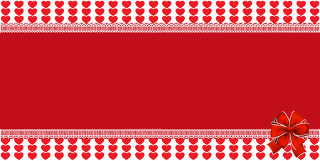 Festive wrapped template with space for text and ribbon on striped red hearts background framed with lace. design element. Christmas, new year, valentines horizontal banner, border, frame